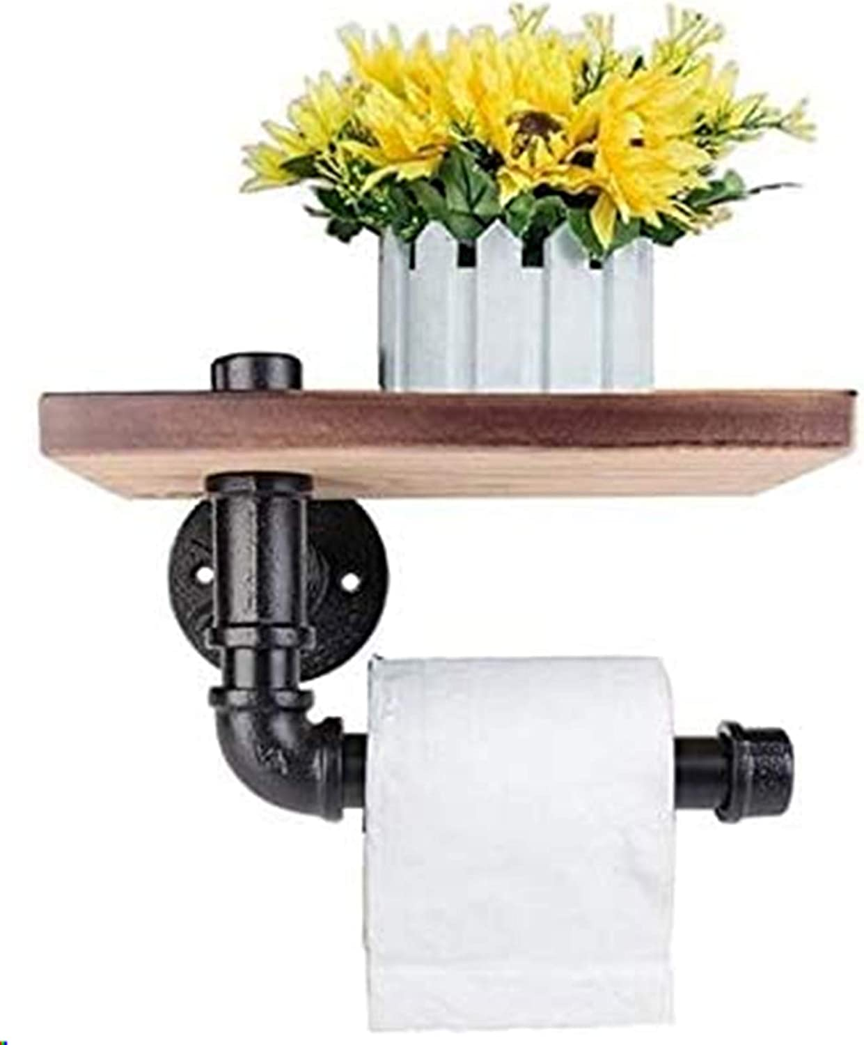 Toilet Roll Holder Multifunction Retro-styled Iron Pipe Wall Mount Paper Towel Rack with Wooden Storage Shelf Retro Bathroom Rack