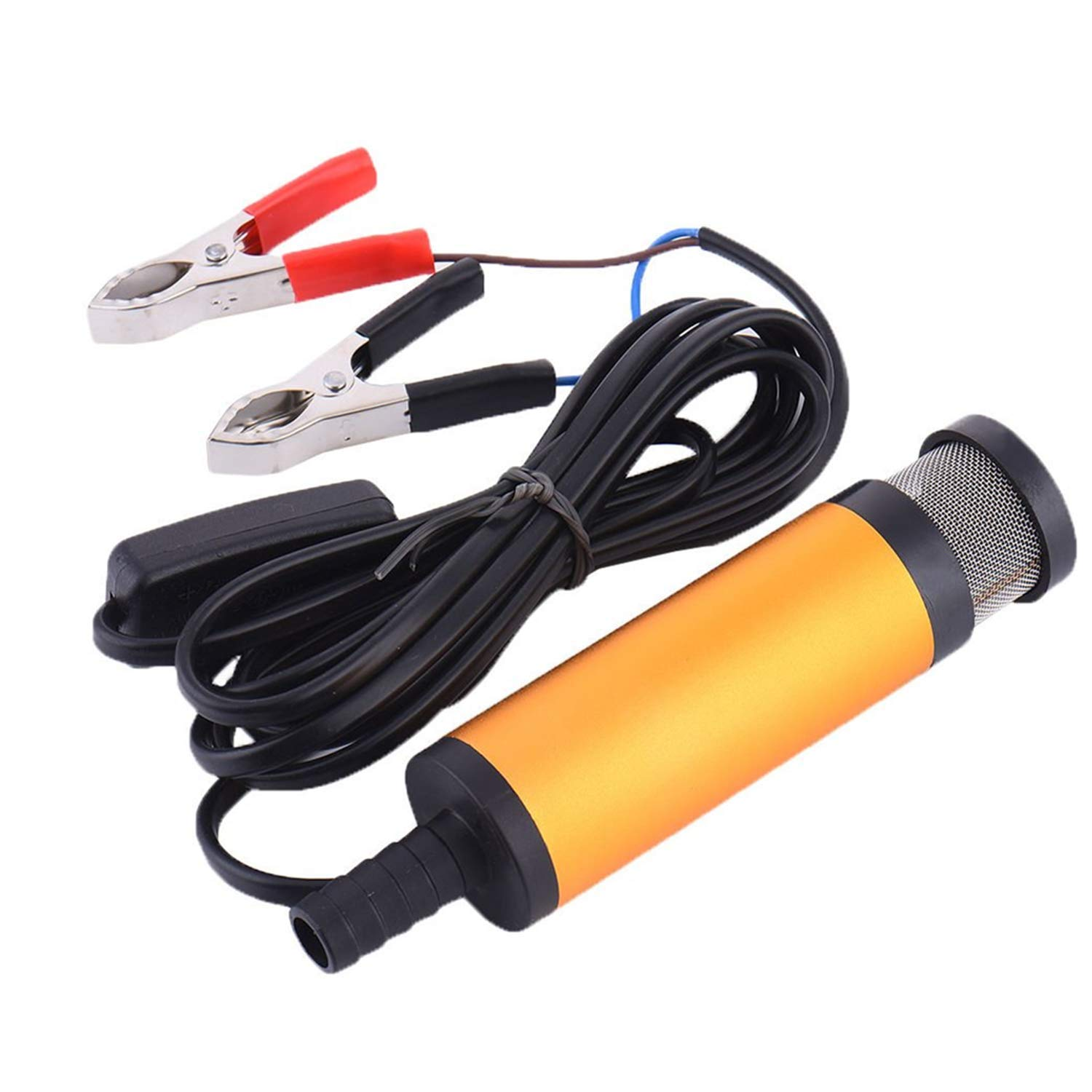 Water Oil Diesel Fuel Pump,Submersible Pump,12V 38MM Port Stainless Steel Fuel Pump with Clip Detachable Filter for Diesel Car Or Speed Boat