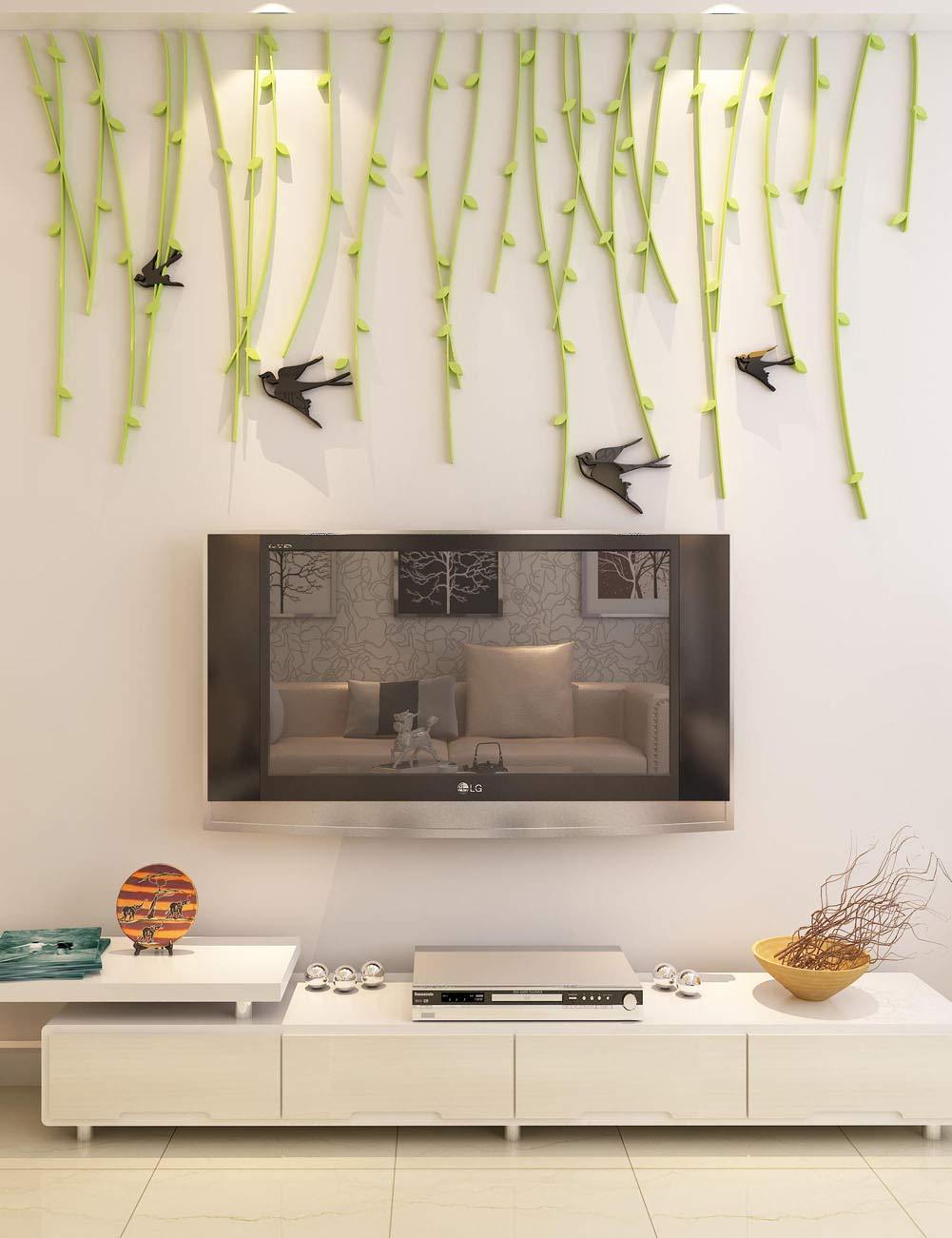 Decorativo elegante  Pared ramas colgantes pajaros