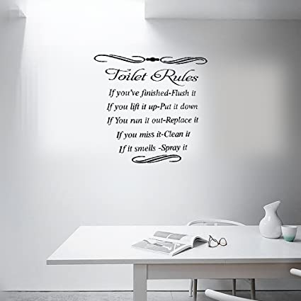 Earck Wall Sticker Quotes Mayitr Removable Toilet Rules Quote Wall Sticker Bathroom  Stickers Vinyl Decal Diy
