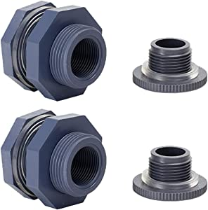 N/X 2 Pieces 3/4 Inch PVC Bulkhead Fitting, Bulkhead Adapter Rain Barrel Spigot Connector Kit with Plugs and 4 mm Thick Silicon Seal Gasket for Rain Barrels, Aquariums, Water Tanks, Tubs, Pools