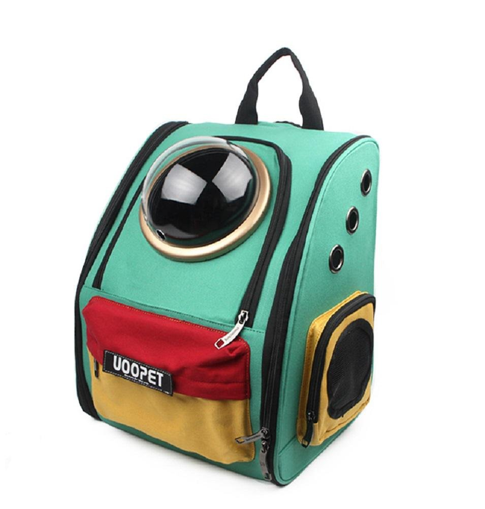 New Large Space Capsule Canvas Pet backpack Portable Pet Carrier Travel Pet Carriers for Cats and Dogs (Blue/Green) , 2
