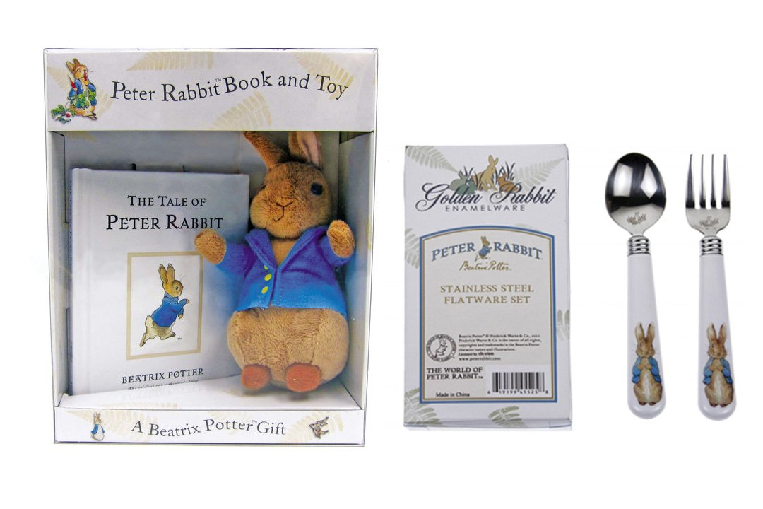 Peter Rabbit Stuffed Animals Beatrix Potter Books with Stuffed Bunny Baby Spoons & Forks Set Easter Gifts for Toddlers