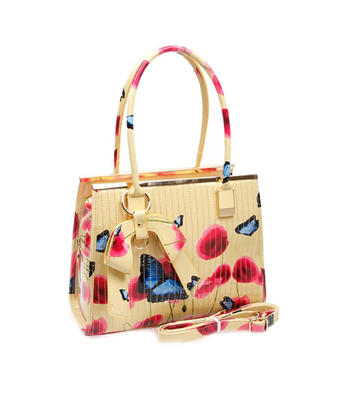 9b50438f3f50 LeahWard® Women's Patent Faux Leather Poppy Flower Bags Poppies Butterfly  Handbag Shoulder Bags For Women School Work College