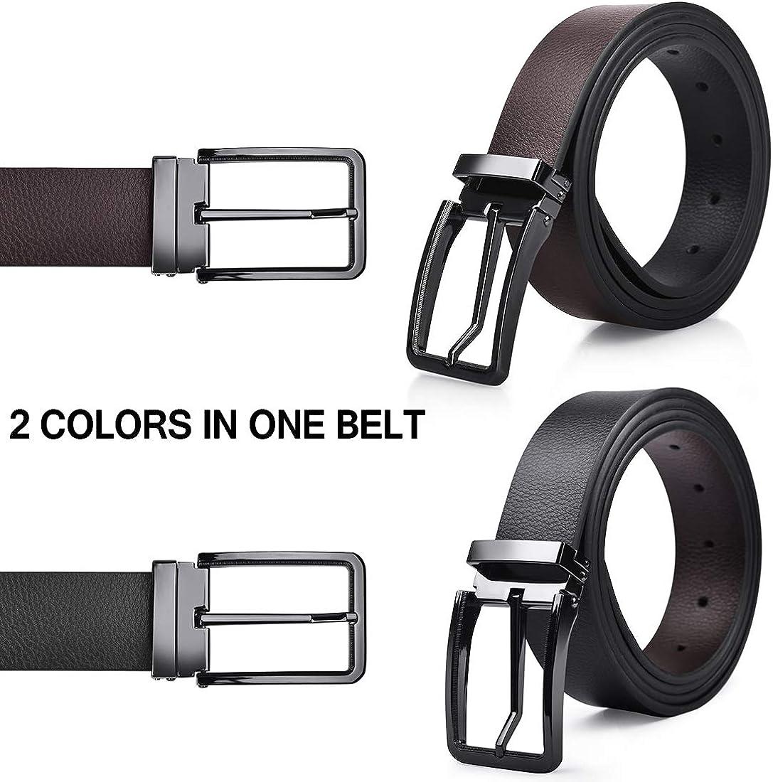 NUBILY Cintura Uomo Pelle Nero Marrone Reversibili Cinture da Uomo Della Di Cuoio Fibbie Cintura Casual Formali Elegante per Jeans Cintura