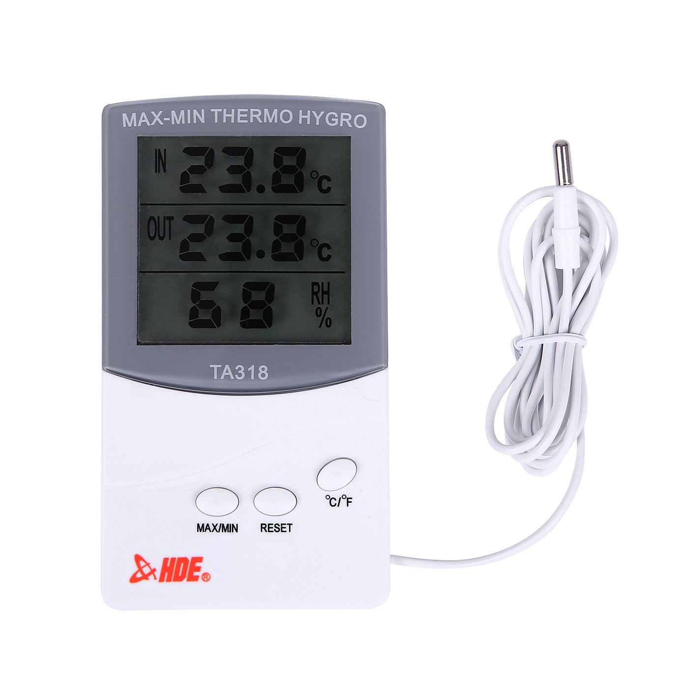 HDE Digital Hygrometer Indoor Outdoor Thermometer Digital Humidity and Temperature Monitor with LCD Display