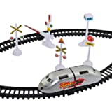 mQFIT Funnytool High Speed Battery Operated Train Set for Kids (Small Metro)