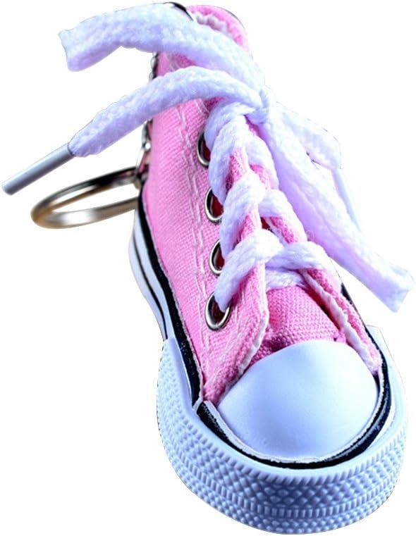 Demarkt 1pcs Porte-Cl/és Creative Car Keychain Porte-Cl/és Pocket Pop T/él/éphone Sac Pendentif Trousseau de Chaussures de Toile Rose 7.5X3.5X3.8cm