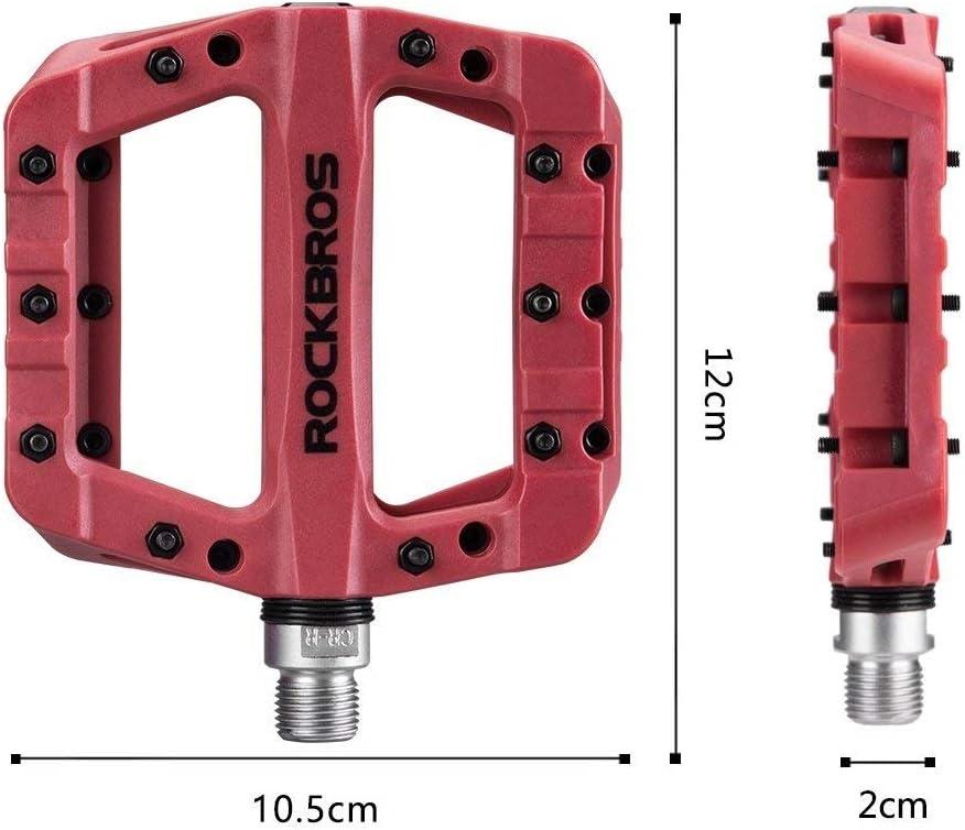 ROCKBROS P/édales VTT Velo Paires P/édales Plates Large en Nylon V/élo Route 9//16 P/édale 3 Roulements Anti-Glissant Noir Rose Orange