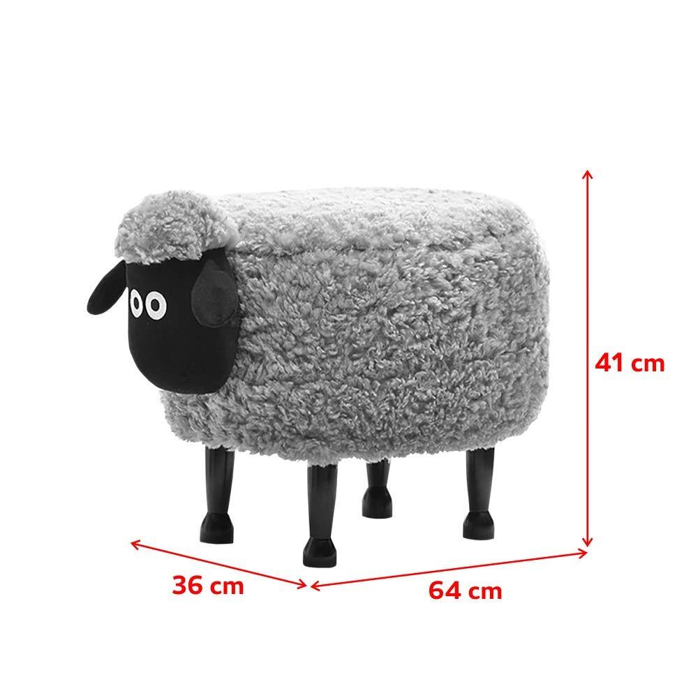 Gefleckt wei/ß//braun Kinder-Hocker gepolstert mit Holzbeinen 36x41x64 cm Selsey Schaf