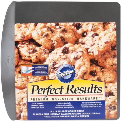- Wilton 2105-6796 Perfect Results Nonstick Air Insulated Cookie Sheet, 16 by 14-Inch