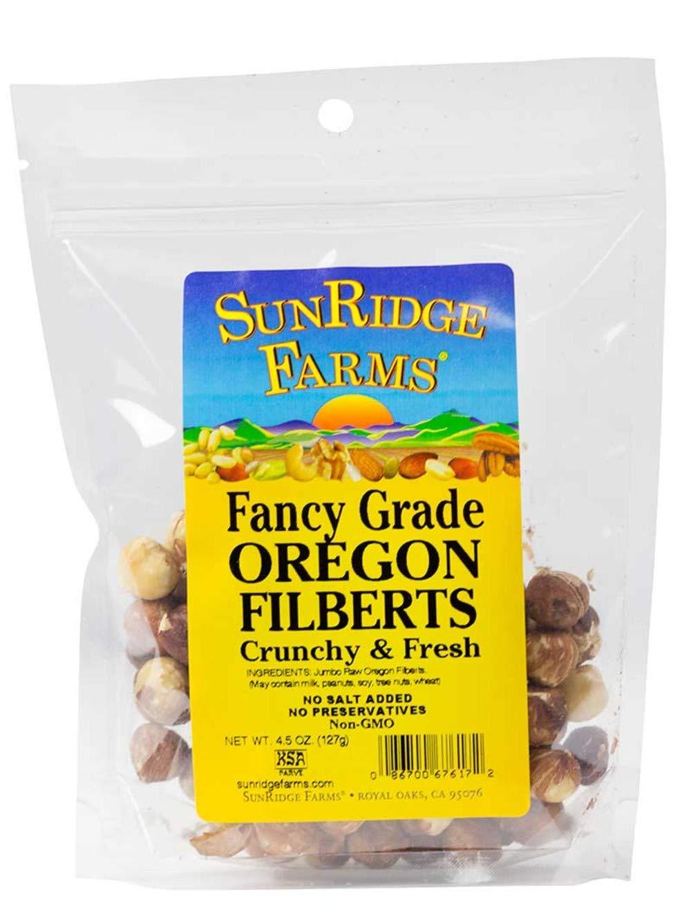 SunRidge Farms Filberts (Hazelnuts) NonGMO Verified, 4.5 Ounce Bag (Pack of 12)