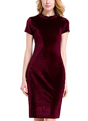 Deargirl Women'sVelvet Long Sleeve Round Neckline Slim Fit Bodycon Dress (Wine Red,X-Large)