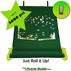 "Puzzle Buddy - Jigsaw Puzzle Roll Up Puzzle Mat - Felt Puzzle Storage Mat Comes with a Puzzle Box Stand - 100% Made in the USA (72"" x 48"") - Fits up to 5000 pieces"