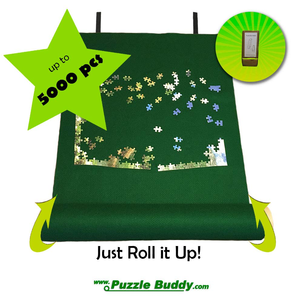 Jigsaw Puzzle Roll Up Felt Mat | Securely Store, Transport Unfinished Puzzles, (Includes Box Stand), Perfect for Grandparents, Grandkids and Puzzle Enthusiasts | Made In the USA - Storage Kit For Puzzles Up To 5000 Pieces, 72'' x 48'' by Puzzle Buddy