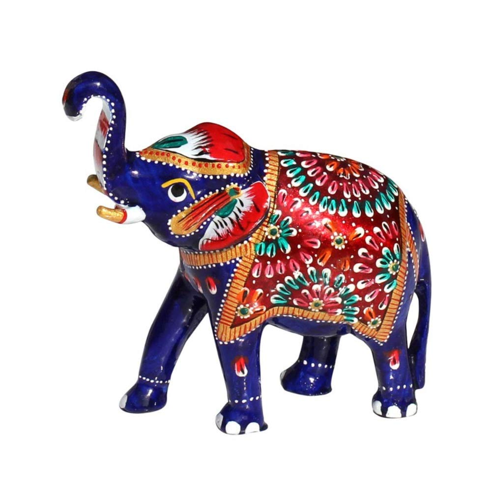 "Rastogi Handicrafts 5.1"" Trunk-Up Good Luck Elephant Sculpture - White Metal Figurine Handmade with Meenakari Work - Unique Home Decor Statue, Standard, Multicolor"