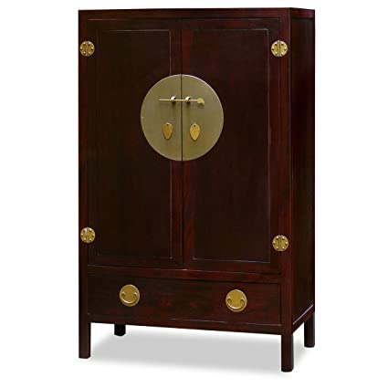 Superbe ChinaFurnitureOnline Elmwood Armoire, 39 Inches Ming Style TV Cabinet  Cherry Finish