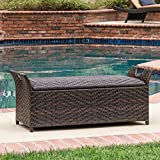 Outdoor Storage Bench with Wicker and Contemporary Design, Hinged Lid and Also Doubles as Extra Seating with a Flat Top Surface, Practical Function of a Storage
