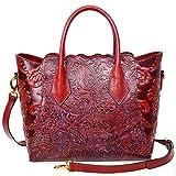 PIJUSHI Womens Genuine Leather Vintage Satchel Bag Top Handle Handbags Floral 33108(One Size, Red)