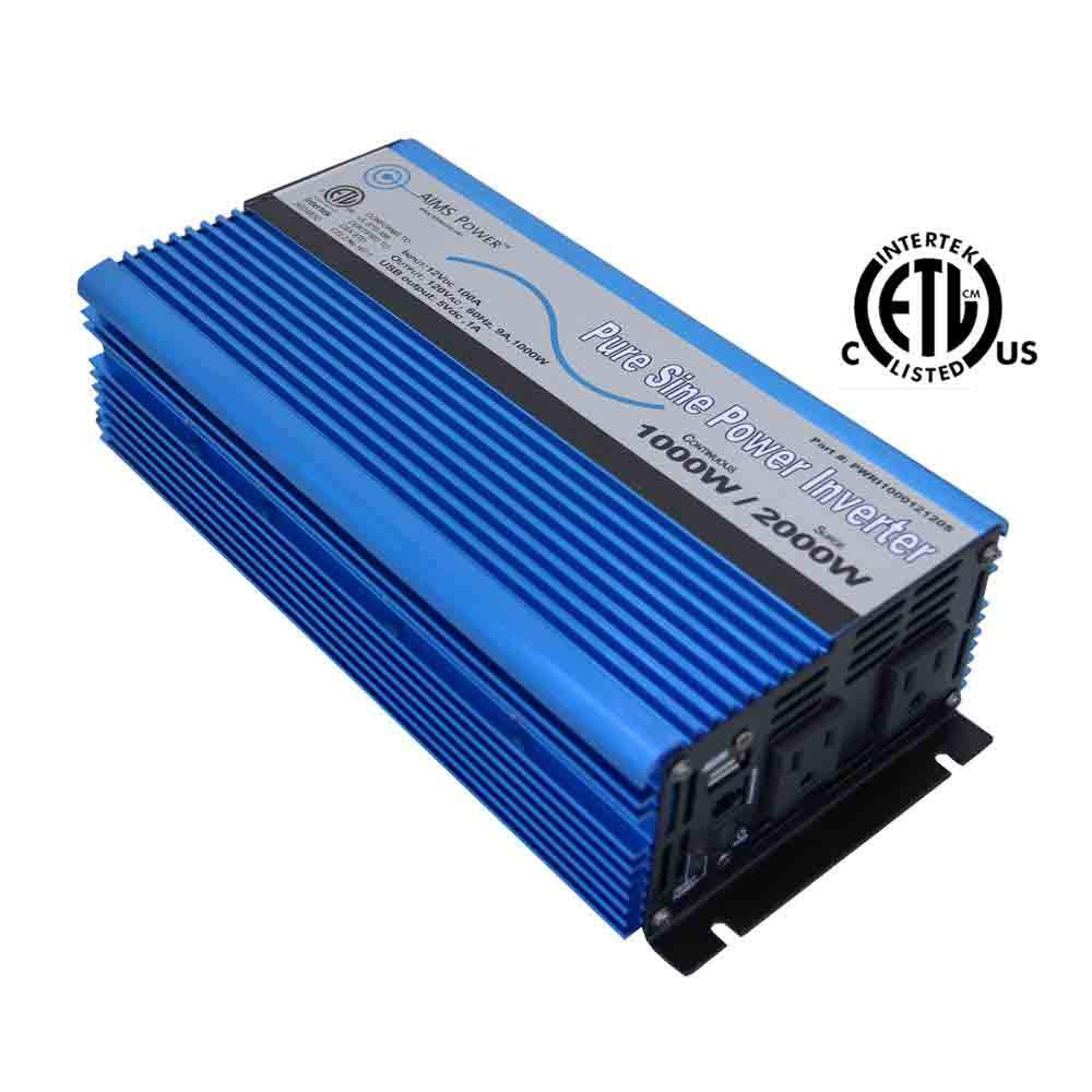 AIMS Power PWRI100012S Pure Sine Power Inverter, 12V, 1000 Watt Continuous, 2000 Watt Peak Power, USB Port, Dual AC Receptacles, Listed to UL 458, 2 Year Warranty by AIMS Power