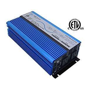 AIMS Power 1000 WATT PURE SINE INVERTER 12 VDC TO 120 VAC - UL Listed