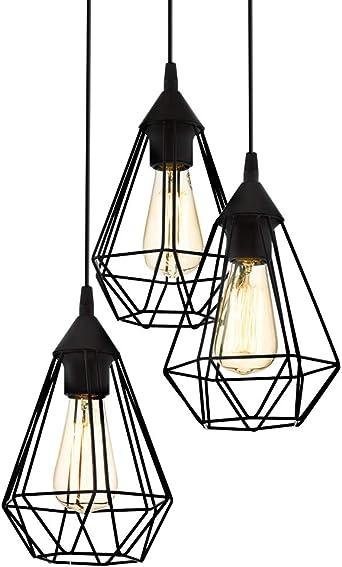 Schwarz, K/äfig LED Pendelleuchte Vintage 4W E27 Filament Retro Industrie Design Metall Dekenlampe H/ängeleuchte Tischlampe