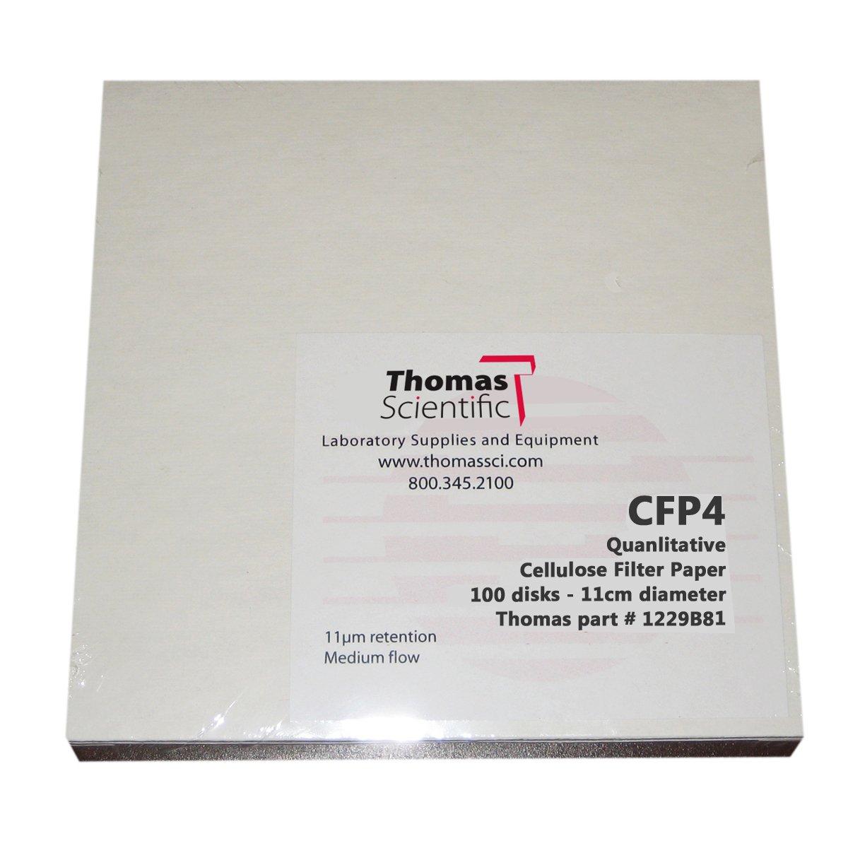 Grade 20-26 Micron Thomas CFP4-090 Cellulose Qualitative Filter Paper CFP4 Fast Flow Pack of 100 9cm Diameter