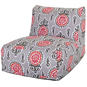 Majestic Home Goods Michelle Bean Bag Chair Lounger, Salmon