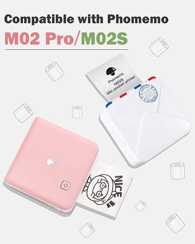 Phomemo Thermal Sticker-Damast Pink//Pink Bottom mit Schneeflocke//Baumwollwolken 25mm x 3,5m f/ür Phomemo M02S 2 Rollen von jedem Muster