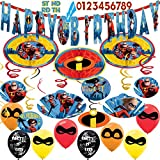 Amazing Celebration The Incredible's 2 Party Supplies Birthday Party Supplies Pack - Variety Assortment Bundle of Happy Birthday Banner, Character Swirls, Balloons, and Hanging Honey Comb Decors