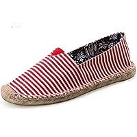IDIFU Women's Men's Comfy Striped Low Top Flats Espadrilles Shoes