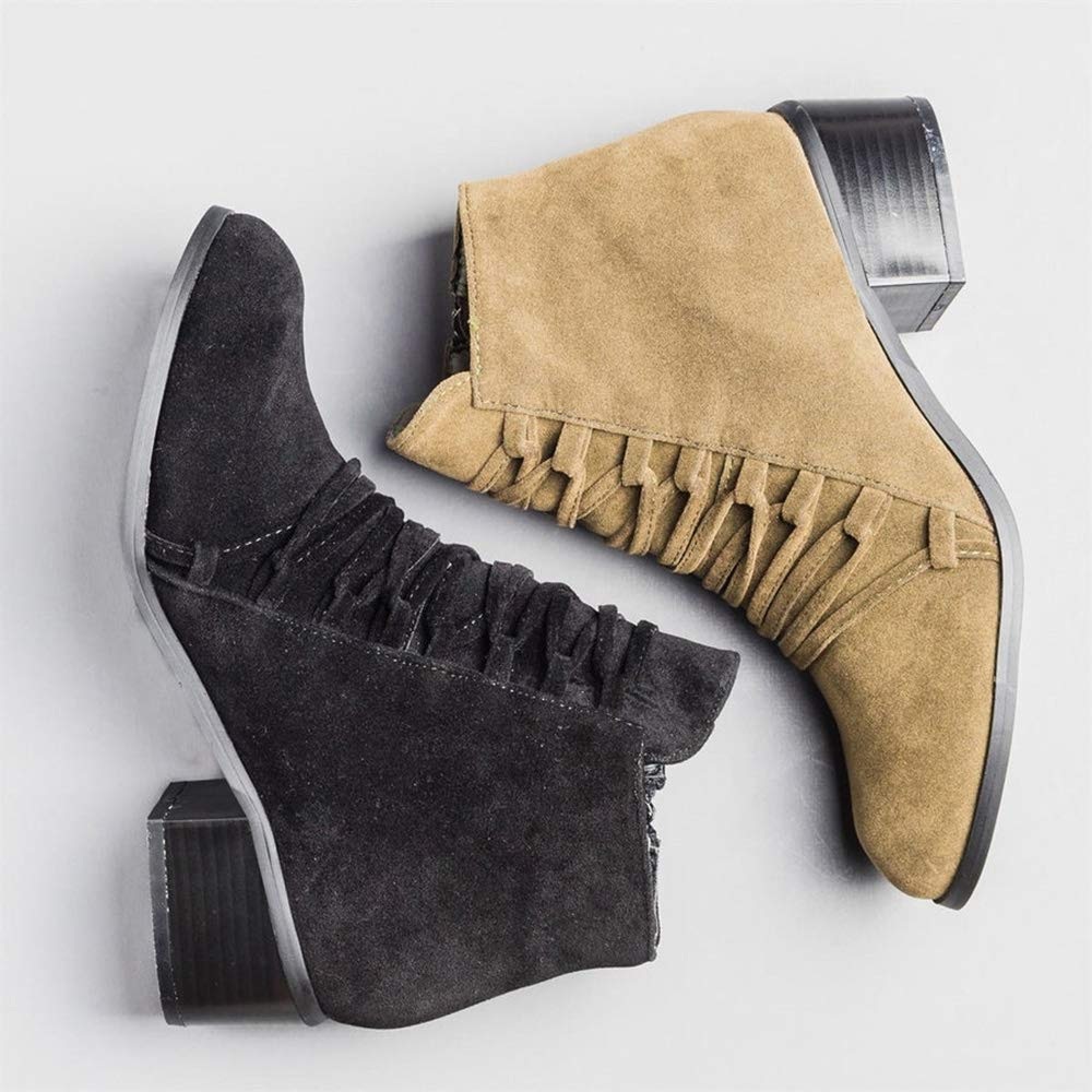 Puwany Womens Crisscross Suede Ankle Booties Chunky Heels Round Toe Side Zipper Boots by Puwany (Image #2)