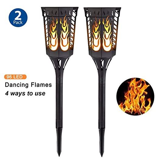2 Pack Solar Torch Light Garden Flickering Flame Lamp Outdoor Waterproof Landscape Decoration Pathway Lantern Lighting Dusk to Dawn Auto On/Off Security Night Light Decking & Patio Lighting