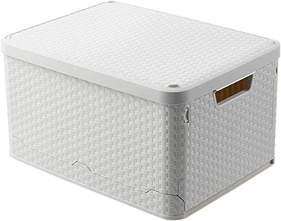 LIHAO Caja De Almacenamiento - Multifunción Plegable con Tapa Gabinete Organizador De Almacenamiento A Prueba De Polvo Material Ecológico,33x43.8x24.5cm: Amazon.es: Hogar