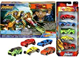 Hot Wheels Thanos Mad Showdown Race Avengers Assemble Exclusive Marvel Team 5-Pack Bundle Infinity War Titan Attack Launcher Playset 2 Items Captain America / Thor / Hulk / Iron Man