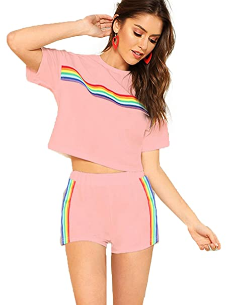 a3fd7debe9 Romwe Women's 2 Piece Set Rainbow Print Casual Crop Cami Top with Shorts  Pink XS at Amazon Women's Clothing store: