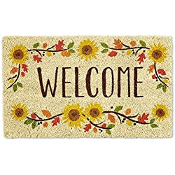 "DII Natural Coir Fiber, 18x30"" Entry Way Outdoor Door Mat with Non Slip Backing - Welcome Sunflower"