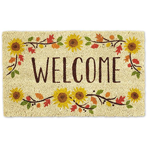 "DII Indoor/Outdoor Natural Coir Easy Clean Rubber Non Slip Backing Entry Way Doormat For Patio, Front Door, All Weather Exterior Doors, 18 x 30"" - Wlcome Sunflower"