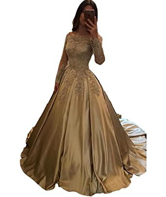 Dymaisei Womens Bateau A-Line Lace Appliques Prom Dresses Long Sleeves Formal Evening Dress US2