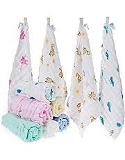 Lictin 10 × Mussole Neonato Asciugamani Bambini - Asciugamano Viso Infantile 100% Cotone Chiffon Fumetto 30 * 30cm Baby Accessorio Fazzoletto per neonati