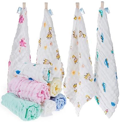 Baby muselina Manopla, lictin 10pcs bebé de toallitas 100% algodón Baby mano muselina S0343