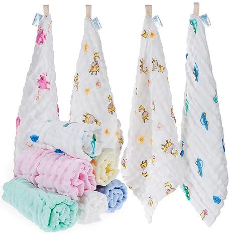 Baby-Musselin-Waschlappen 30 x 30 cm super weich und saugf/ähig f/ür Neugeborene 10 St/ück wei/ß Musselin rainday Musselin-Quadrate weiches Babyhandtuch-Set Babys 100 /% Baumwolle
