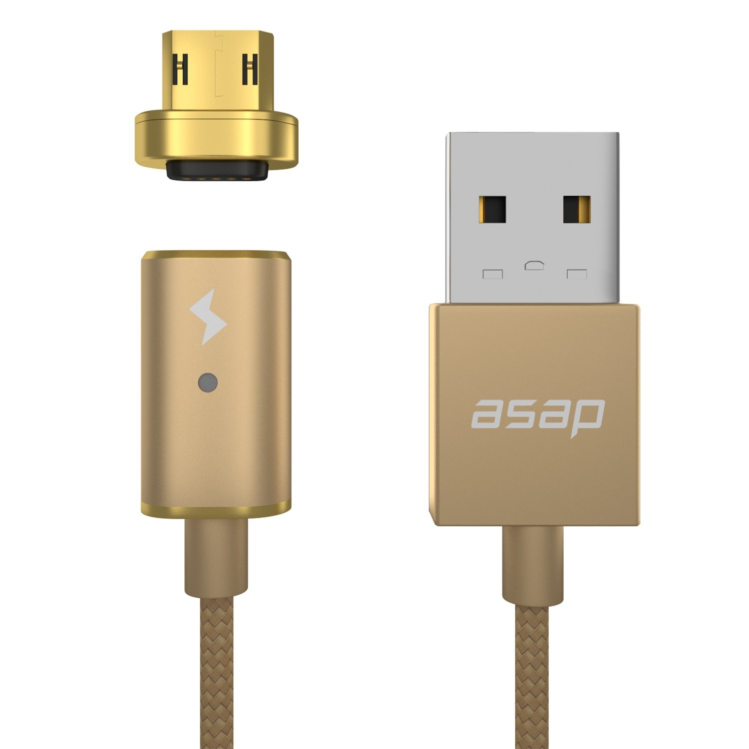 ASAP X-Connect Cable set Micro USB Cross Device Compatible Magnetic Data Transfer Fast Charge 3.94ft Cable … (Gold)