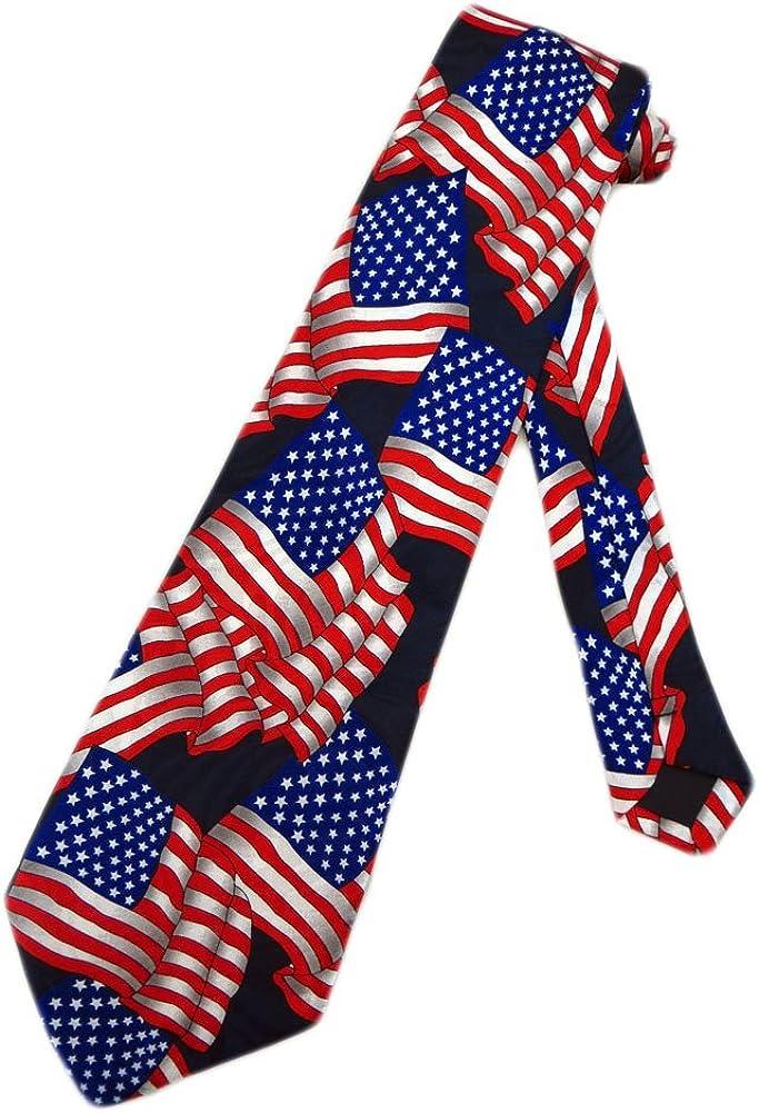 One Size Neck Tie Steven Harris Mens Vintage American Flag Necktie Blue