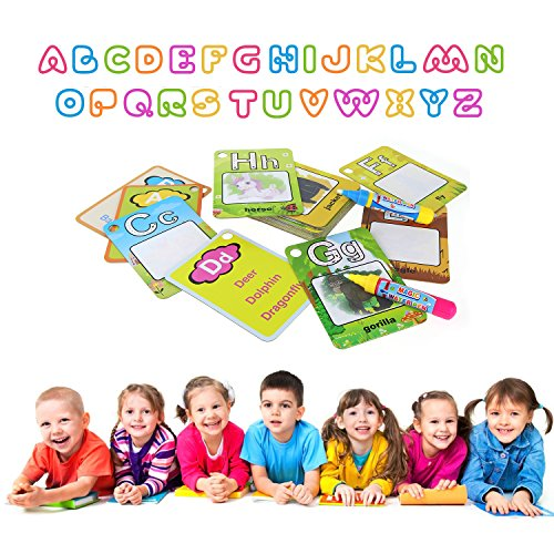Dorras Water Painting Graffiti Book Card 26 Letters Chidren's Early Education Cognitive Cards A-Z Alphabet Word Colouring Doodle Board + 2 Magic Drawing Pens Games Toy for Toddlers Kids Baby
