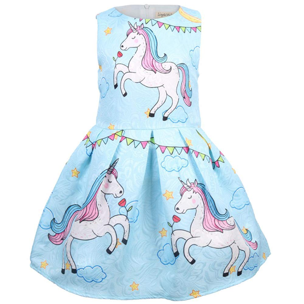 97165897c79da Amazon.com: Little Girls Unicorn Rainbow Dresses Summer Floral Print  Sleeveless Party Sundress Toddler Clothes 4-10 Years: Clothing