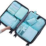 Belsmi 8 Set Packing Cubes - Waterproof Travel Luggage Organizer with Shoes Bag
