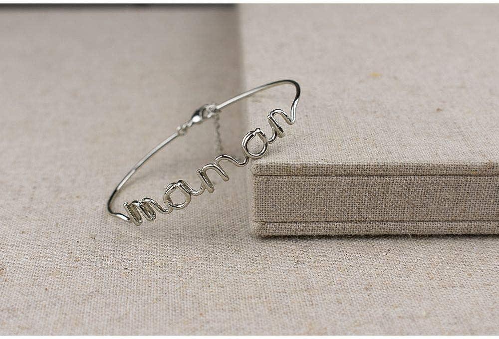 Maman Mes-bijoux.fr Bracelet Fil Lettering en Laiton Argent/é