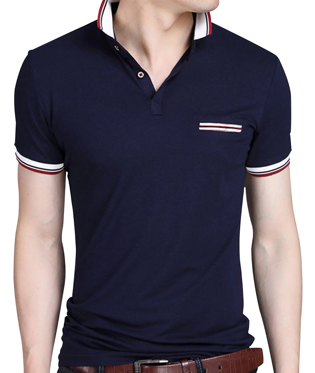0e98c788ec6 Amazon.com  Sanifer Men s Collared Shirt Summer Casual Short Sleeve Slim  Fit Polo Shirts T Shirts (US XL Asia 4XL