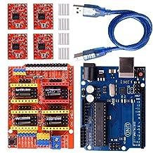 Longruner GRBL CNC Shield Expansion Board V3.0 +UNO R3 Board + A4988 Stepper Motor Driver With Heatsink for Arduino Kits LK75